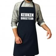 Bellatio Decorations Keuken directeur barbeque schort / keukenschort navy voor heren - Feestschorten