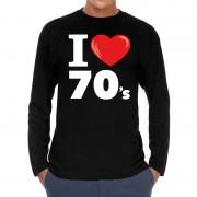 Bellatio Decorations I love 70s / seventies long sleeve t-shirt zwart heren