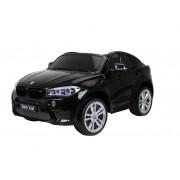 BMW X6 M Mașinuță electrică pentru copii, Neagră, Două Scaune din Piele, 2x 120W, Licență Originală, Cu Baterii, Uși care se deschid, frână electrică, 2x motoare, Baterie 12V10Ah, Telecomandă 2.4 Ghz, roți ușoare EVA, pornire Lină