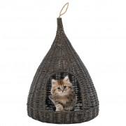 vidaXL szürke természetes fűzfa macskaház párnával és tipi-sátorral