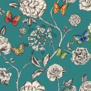 Tapet fluturi si flori pe fundal turcoaz Keilena - Holden
