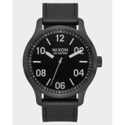 Nixon The Patrol Leather Watch Black Silver Black