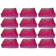 Funkroo High Quality Pack of 12 Polka dot 2 inch Designer Height Saree Cover Gift Organizer bag vanity pouch Keep saree/Suit/Travelling Pouch(Pink)
