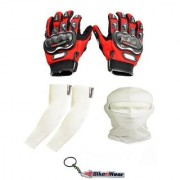 Combo Pack For Pro Biker Gloves Red-XL+ Arm Sleeve Face Mask-Cream With Key Chain