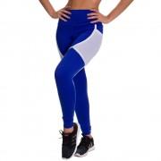Calça Legging Fitness - Lisa Azul com Faixa Branca - DM730