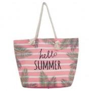 Merkloos Strandtas roze/wit Hello Summer 54 cm