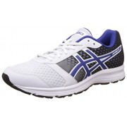 Asics Men's Patriot 8 White, Asics Blue and Black Running Shoes - 6 UK/India (40 EU)(7 US)