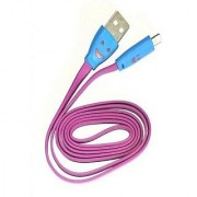 Micro LED Lighting Smile Face Design USB 2.0 Micro Charging Cable 1m - Pink
