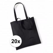 Merkloos 20x Promotie tasjes zwart katoen 42 x 38 cm