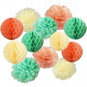Furuix Mint Green Peach Cream Tissue Paper Honeycomb Balls Pom Decorations Hanging for Baby Shower Bridal Birthday Decor Wedding Party Wall Decoration