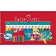 Creioane Colorate Acuarela 35 buc + Pensula Cutie Lemn Faber-Castell
