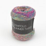 Lana Grossa Gomitolo Summer Tweed von Lana Grossa, Blauviolett/Maisgelb/Türkis/Zyklam/Rotviolett