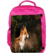 Snoogg Eco Friendly Canvas Fox And Wood Designer Backpack Rucksack School Travel Unisex Casual Canvas Bag Bookbag Satchel 5 L Backpack(Pink)