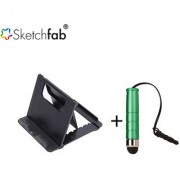 Sketchfab Universal Portable Foldable Holder Fold Stand Upto 10 inches High Sensitive Mini Stylus Pen - Multi Color