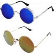 Rich Club Round Sunglasses(Blue, Golden)