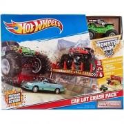Hot Wheels Monster Jam Car Lot Crash Pack Grave Digger Playset