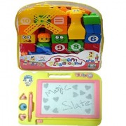 New Pinch 40 pcs. Building Blocks with multicolor Kids Drawing Writing Board Magic Slate