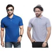 Kundan Sulz Gwalior's Exclusive for Men's 100% Pure-Cotton Polo Neck T-Shirt-German Blue & Melange ( Off White ) ( Pack of 2 T Shirt )