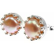 Cercei argint coroana perle de cultura oranj 8 MM