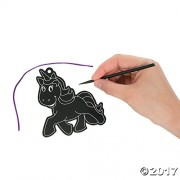 """24 ~ Magic Color Scratch Unicorn Ornaments ~ Includes Scratching Tools and Cords ~ Approx. 4 1/2"""" ~ New"""