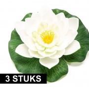 Geen 3x Witte lotus/waterlelies kunstbloemen 16 cm