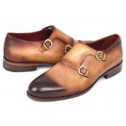 Paul Parkman Two Tone Double Monk Strap Shoes Camel HT54-CML