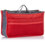 fayby Travel Nylon Hand Bag Cosmetic Pouch Makeup Organizer (Red) Travel Toiletry Kit(Red)
