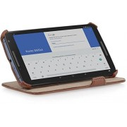 StilGut UltraSlim, funda con soporte para Google Nexus 6, Marrón (Cognac Brown)
