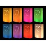 Merkloos Papieren Candle bags gekleurde hartjes 10x stuks