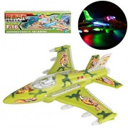 ToyZe® F16 Military Fighter Jet Bump and Go Action Airplane Toy, with Lights and Sound