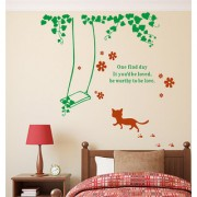 Wall Stickers Cat Around The Swing With Wall Quote Home And Living Room Design Sticker