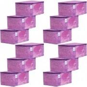 Kuber Industries Flower Design Metalic Flower Design 12 Piece Non Woven Saree Cover, Large(Pink & Purple) - CTKTC34546 CTKTC034546(Pink & Purple)