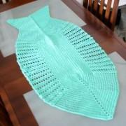 Crochê Centro de Mesa Formato Peixe Verde