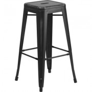 Flash Furniture Backless Distressed Metal Bar Stool - 30Inch H, Black, Model ETBT350330BK