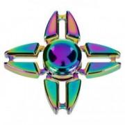 Fidget Spinner metalic stea cu reflexii verzi mov