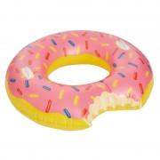 Merkloos Grote opblaasbaar donut zwemband roze 104 cm