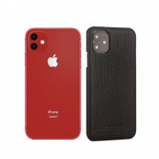 PIERRE CARDIN Genuine Leather Skin Phone Shell for Apple iPhone 11 6.1 inch - Black