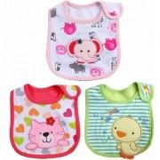 iDream Cartoon Printed Soft Cotton Toddler/Baby Bibs - Elephant Cat Duck (Girls Pack of 3)