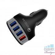Incarcator Auto Cu 4 Porturi USB Si Incarcare Rapida Samsung LG Huawei iPhone Universal Negru