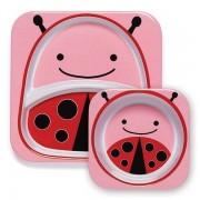 Skip Hop Zestaw jedzeniowy dla dzieci talerz dzielony + miska - naczynia dla maluchów Zoo Biedronka,