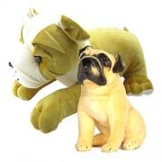 Gift Decor Shop Big Bull Dog Stuffed Soft Toy (Multi, 50 cm) Combo with Soft Toy Pug for Kids (Cream/Black, 36 cm)