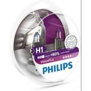 Set de 2 becuri Philips H1, 12V, 55W, P14,5s VISION PLUS
