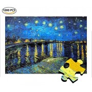 Cool Wall Decal Sticker Vinyl Jigsaw Puzzles 1000 Pieces Starry Night Over The Rhone Vincent Van Gogh Artwork Art for Teen Adult Grown up Toy Educational Games Puzzle Pcs