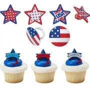 4th of July Banner, Star and Flag Cupcake Topper Rings- 24 count