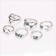 ITS - 6pcs/set Hot Mid Midi Above Knuckle Ring Turquoise Moon Arrow Tip Finger Stacking Rings