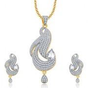 Sukkhi Distinctive Gold And Rhodium Plated CZ Pendant Set For Women