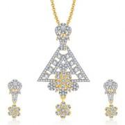 Sukkhi Longevity Gold And Rhodium Plated CZ Pendant Set For Women