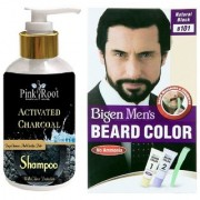 Pink Root Activated Charcoal Shampoo With Bigen Men's Beard Color B101 Natural Black