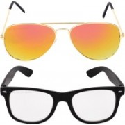 Aligatorr Wayfarer, Aviator Sunglasses(Golden, Clear)