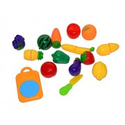 Vibgyor Vibes™ Colourful Realistic Sliceable Fruit and vegetable Set of 15 items - & Colourful Fruits with Knife, Chopping Board. Specifications and Contents may vary
